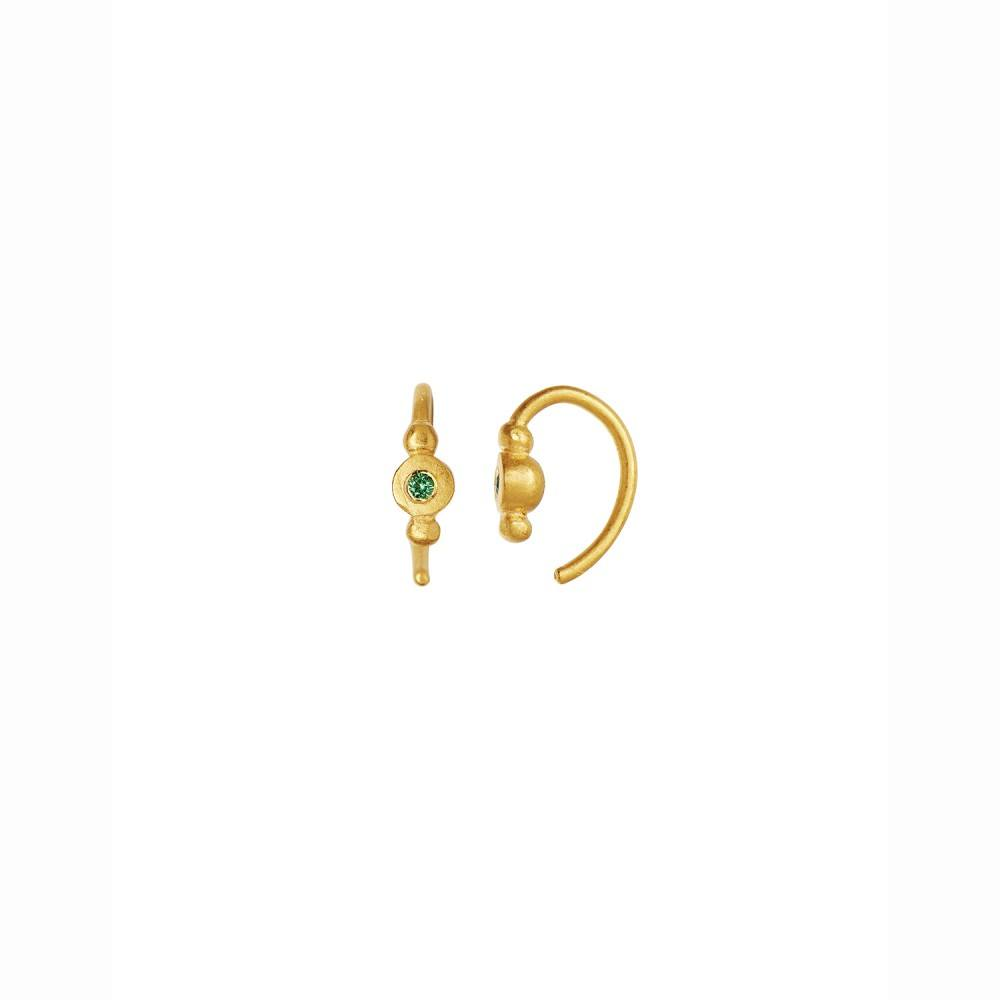 Petit Bon-bon Green Zircon Earring Piece Gold-35