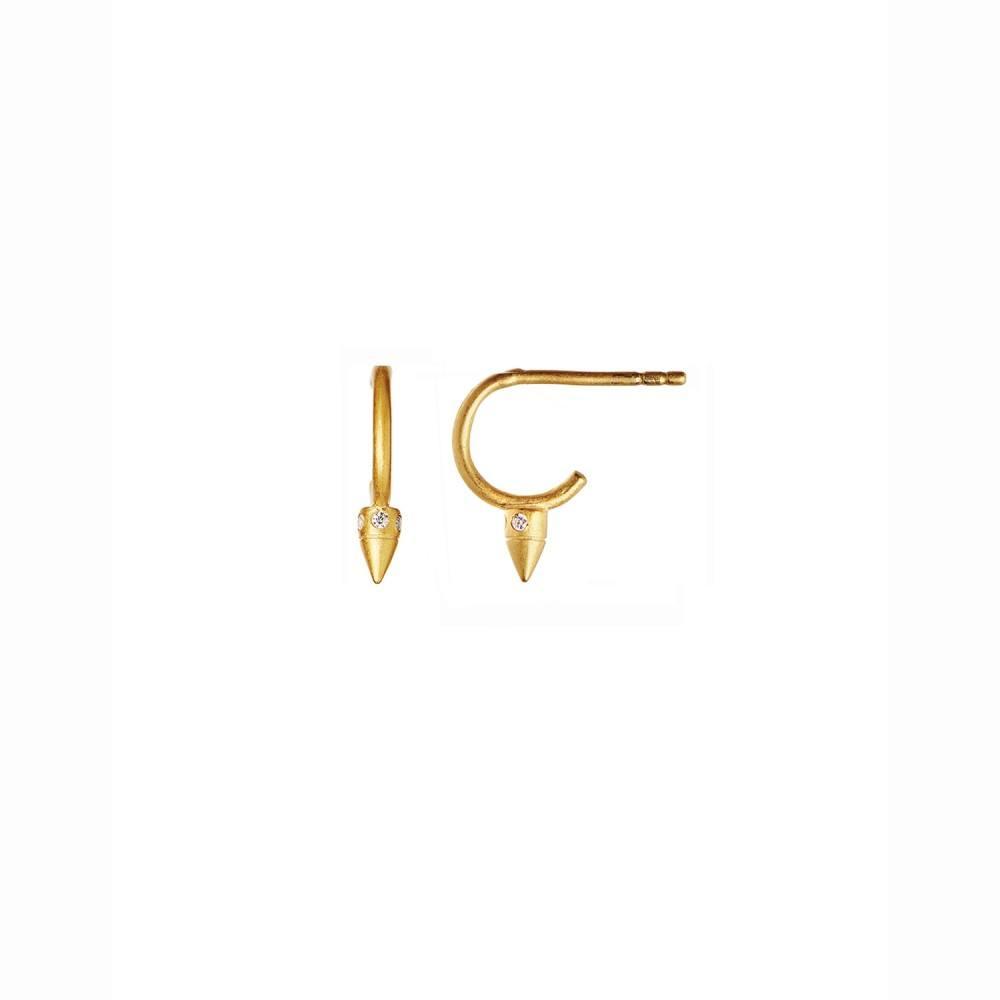 Petit Toupie w/Zircons Creol Earring Piece Gold-35