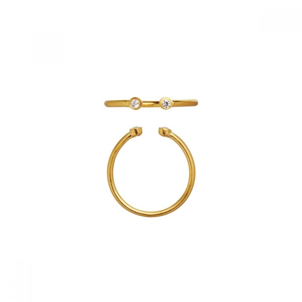 Open two dots ring - forgyldt