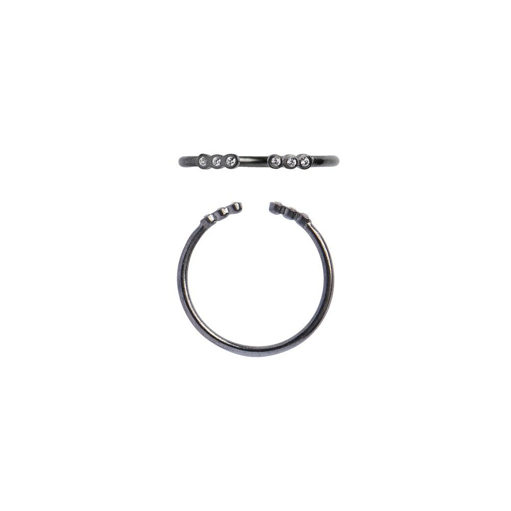 Stine A Open Six Dots Ring Black-33