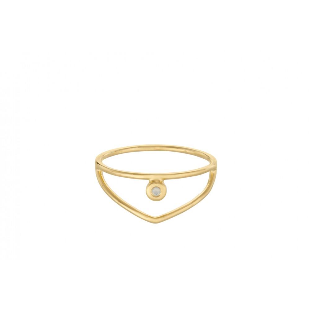 Pernille Corydon Barcelona ring med hvid opal forgyldt str. 52-31