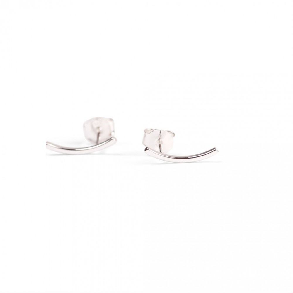 Curved Ear Stud Silver-35