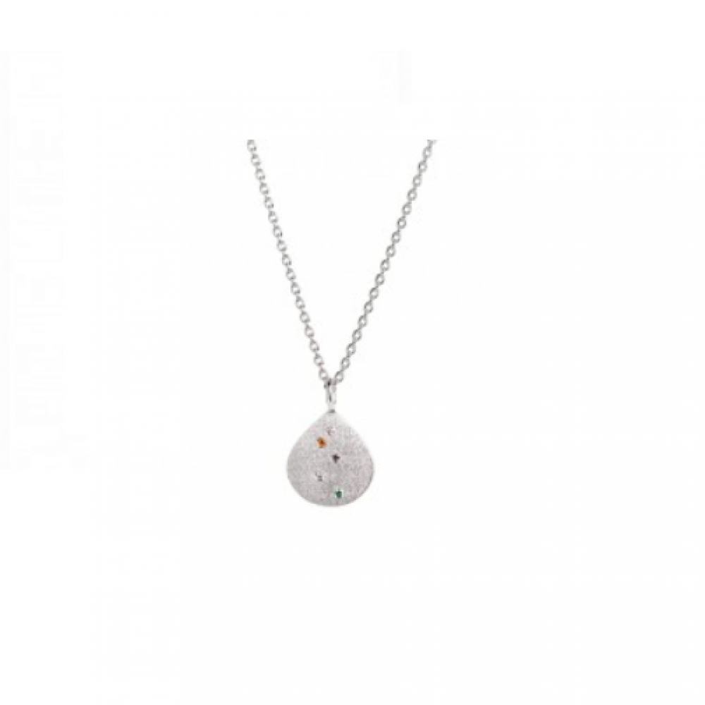 Confetti Shell Necklace Silver-35