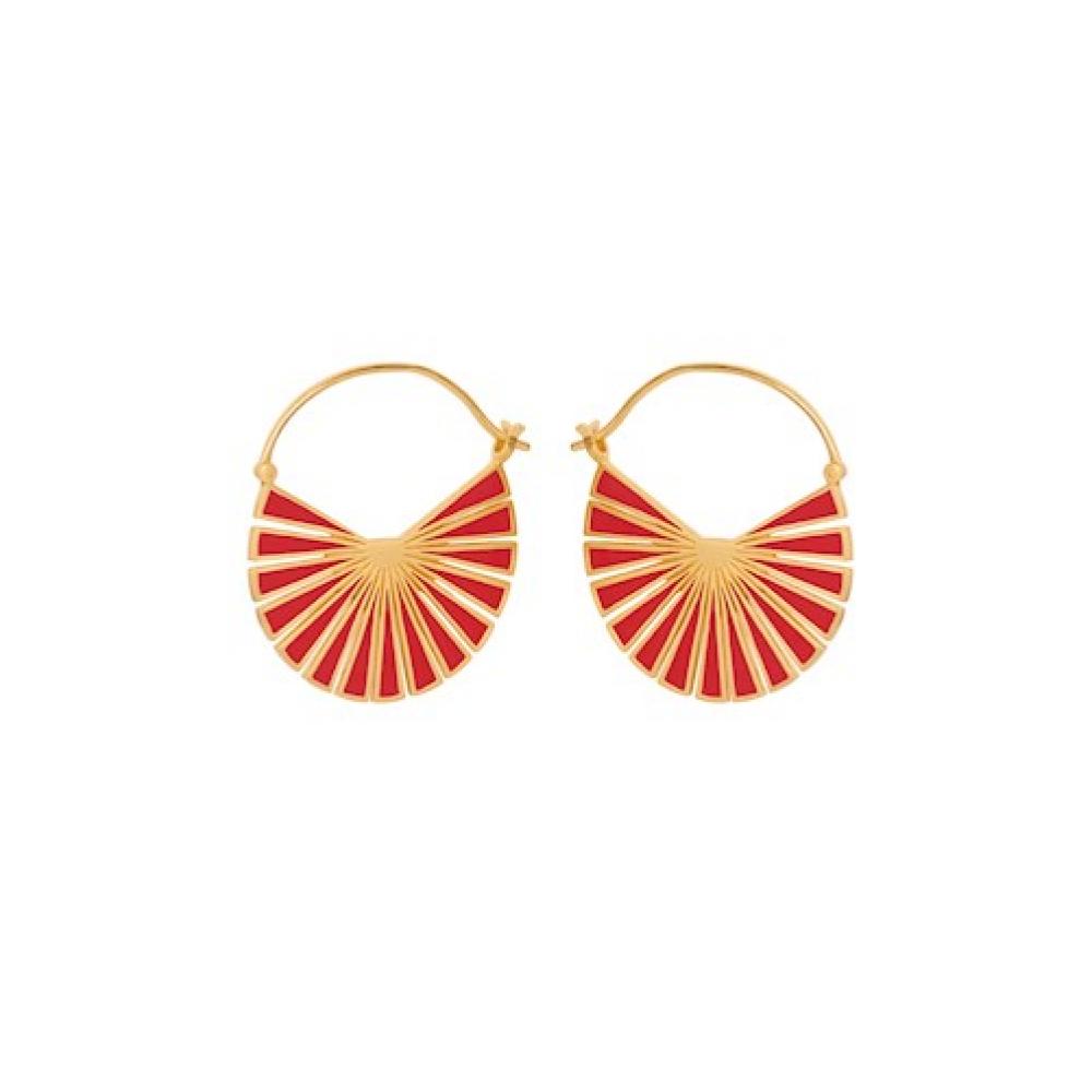 Pernille Corydon Flare Red Earrings Forgyldt-31