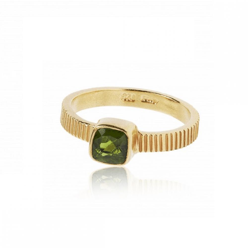Carré Gem Candy Ring Forgyldt med Chrom Diopsid-31