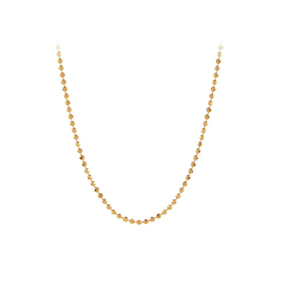 Facet Plain Necklace 80 cm Forgyldt-35