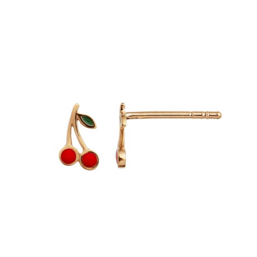 Stine A Petit Cherry Earring Enamel Forgyldt-31