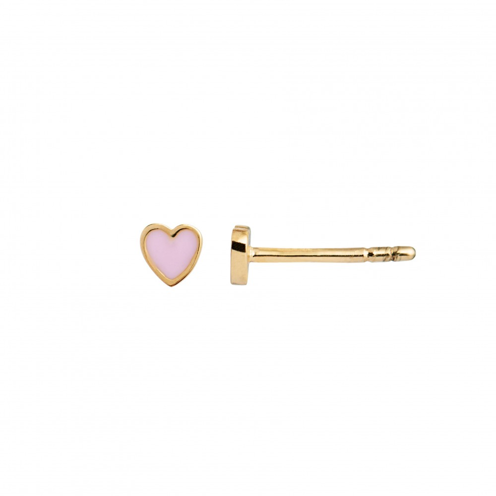 Stine A Petit Love Heart light pink enamel Earring Piece Gold-38