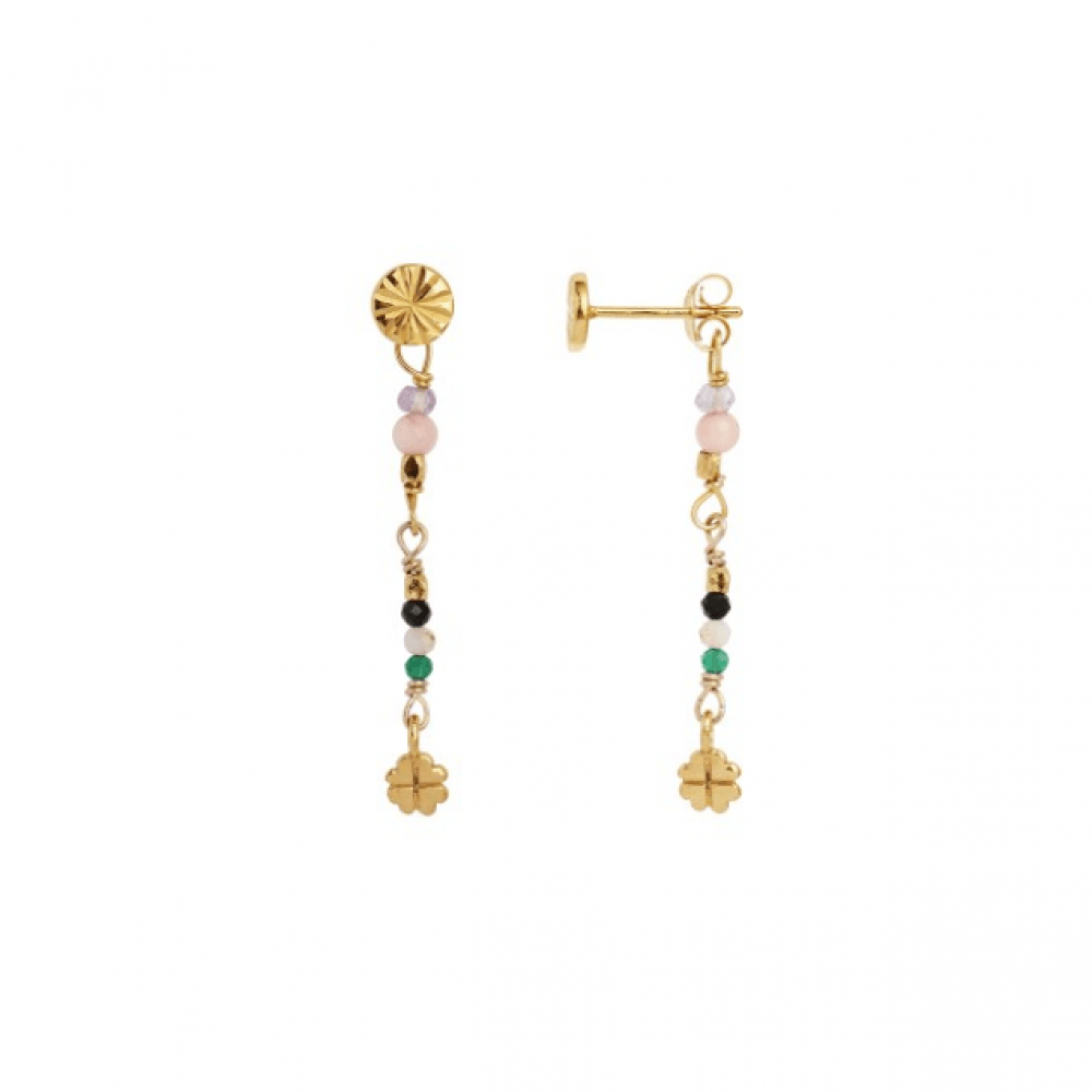 Petit Stones And Clover Behind Ear Earring Black Spinel/Coral-31