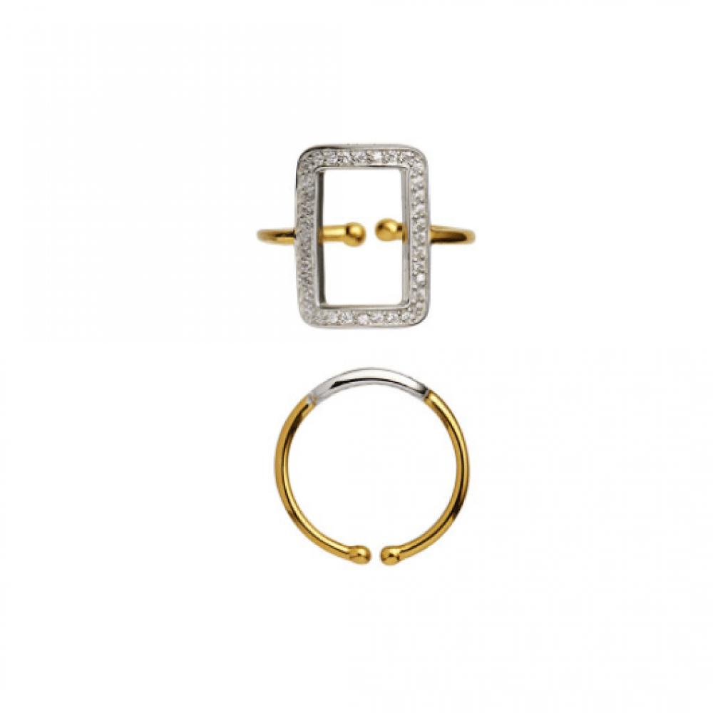 Stine A Vintage Square Ring W/Zircons Forgyldt og Sølv-31