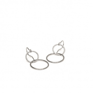 Double Plain Ear Hook Sølv-20