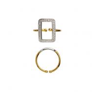 Vintage Square Ring W/Zircons Forgyldt og Sølv-20