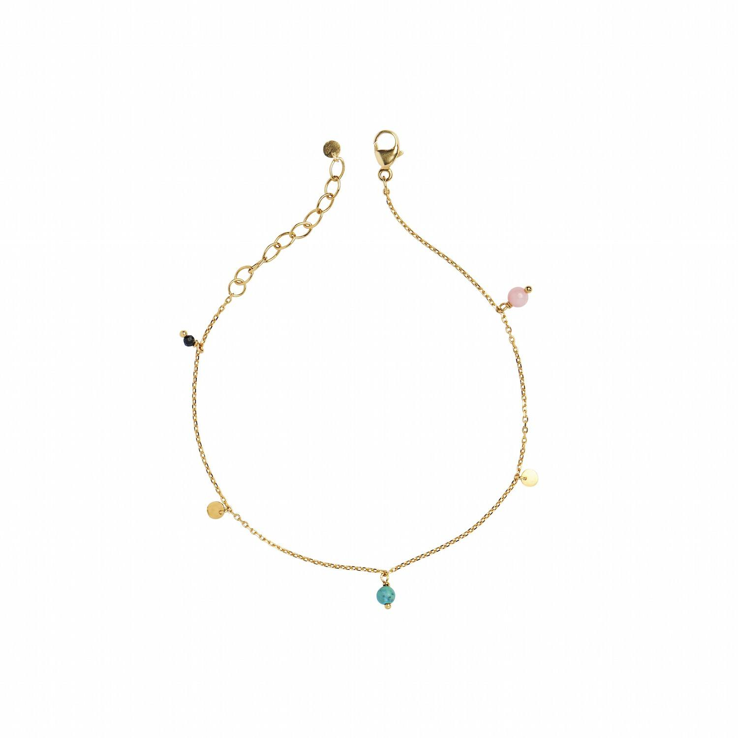 Petit Coin and Stones Black Spinel, Coral and Turquois Bracelet-20