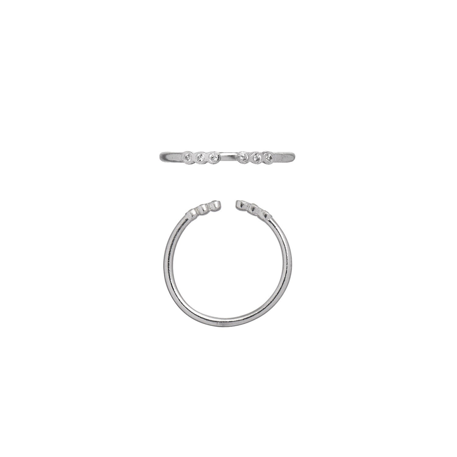 Open Six Dots Ring Silver-20