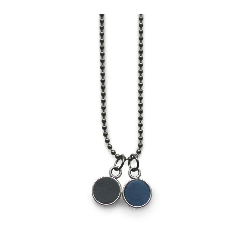 Bowl halskæde 78 cm mørkegrå/mørkeblå-20