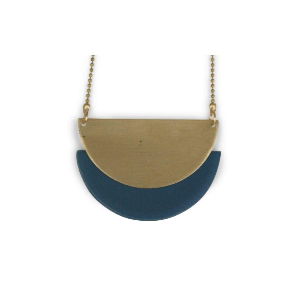 Måne halskæde 78 cm messing/mørkeblå-20