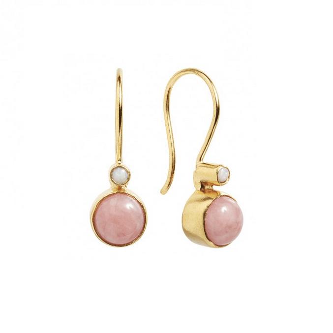 Carré Archive Øreringe Forgyldt Pink Opal-20