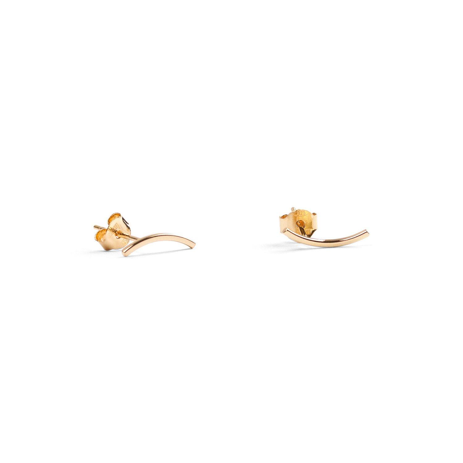 Curved Ear Stud Gold-20