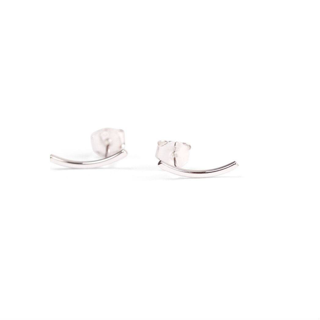 Curved Ear Stud Silver-20