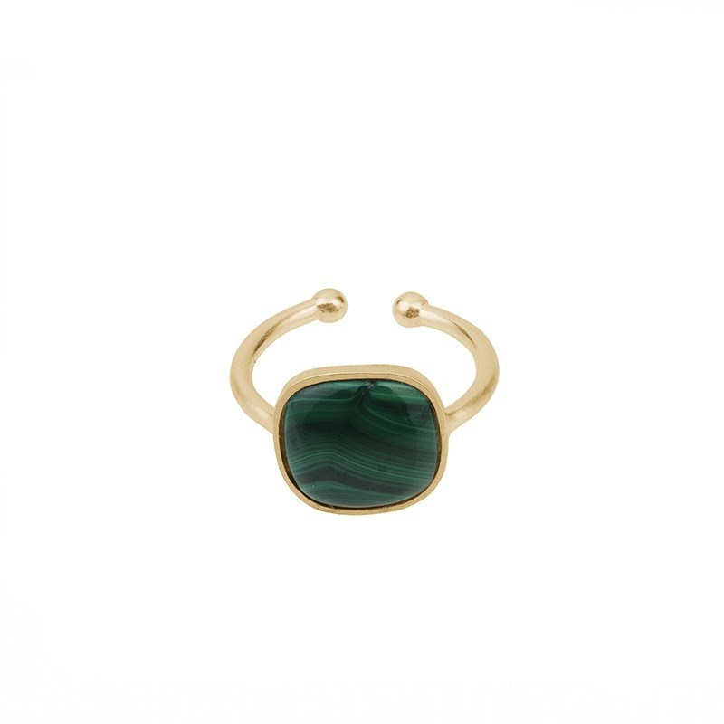 Malachite Ring Forgyldt-20